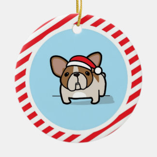 Fawn Pied Frenchie on Candy Cane Stripes Double-Sided Ceramic Round Christmas Ornament
