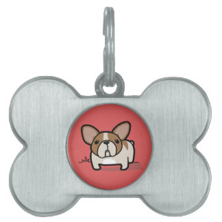 Fawn Pied Frenchie Pet Name Tag