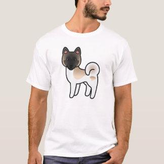 Fawn Pinto Akita Cartoon Dog T-Shirt