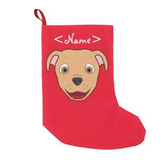 Fawn Pitbull Face Small Christmas Stocking
