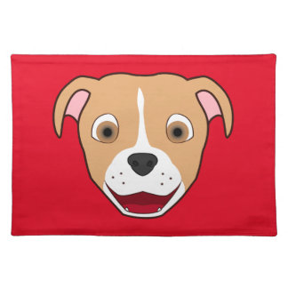 Fawn Pitbull Face with White Blaze Cloth Placemat