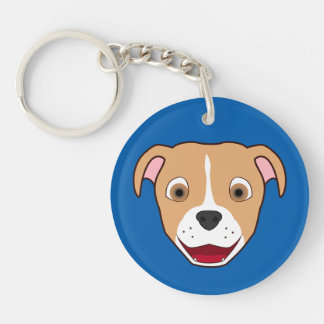 Fawn Pitbull Face with White Blaze Keychain