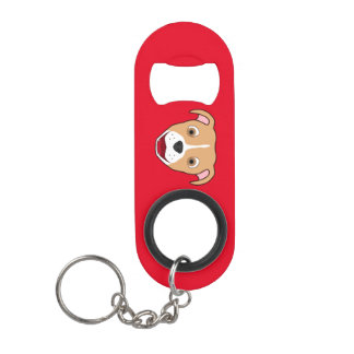 Fawn Pitbull Face with White Blaze Keychain Bottle Opener