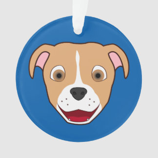 Fawn Pitbull Face with White Blaze Ornament