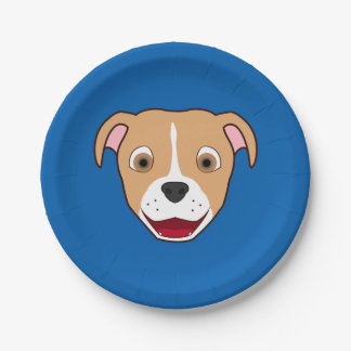 Fawn Pitbull Face with White Blaze Paper Plate