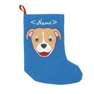 Fawn Pitbull Face with White Blaze Small Christmas Stocking