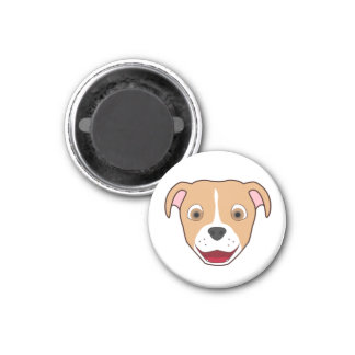 Fawn Pitbull with Blaze 1 Inch Round Magnet