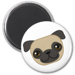 Fawn Pug 2 Inch Round Magnet