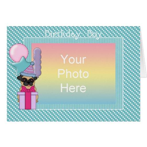 Fawn Pug Birthday Boy Photo Card