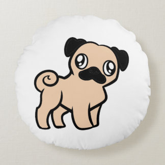 fawn pug cartoon round pillow