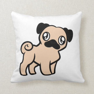 fawn pug cartoon throw pillow