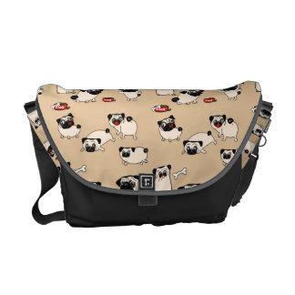 Fawn Pug doodle Bags - dog walker trainer Messenger Bag