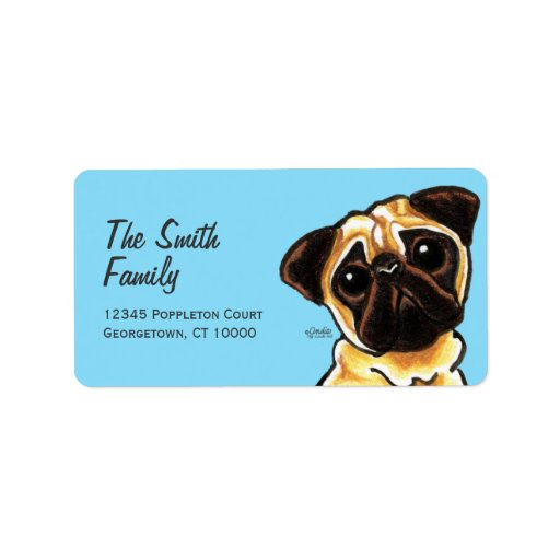 Fawn Pug Face Large Custom Color Address Label
