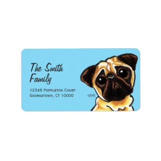 Fawn Pug Face Large Custom Color Address Label