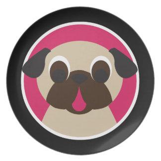 Fawn Pug Head On Black Melamine Plate