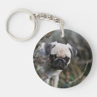 Fawn Pug Puppy Headshot Keychain