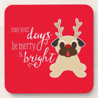 Fawn Pug Reindeer Christmas Pug Coaster