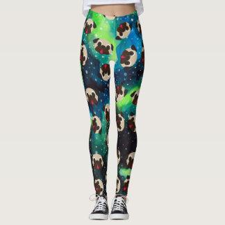 Fawn Pugs on Blue Green Cosmic Background Leggings