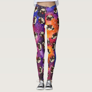 Fawn Pugs on Cosmic Space Background Leggings