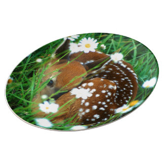 fawn resting in flowers dinner plate