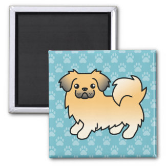 Fawn Sable Tibetan Spaniel Dog 2 Inch Square Magnet