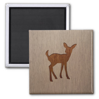 Fawn silhouette engraved on wood design 2 inch square magnet