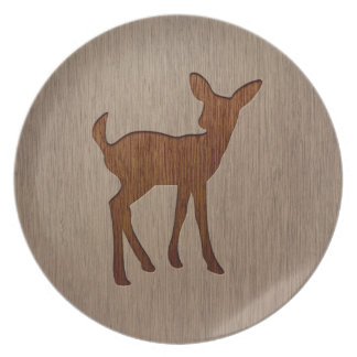 Fawn silhouette engraved on wood design melamine plate