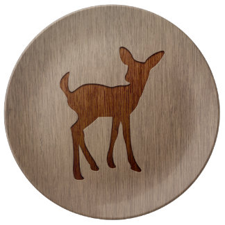 Fawn silhouette engraved on wood design porcelain plate