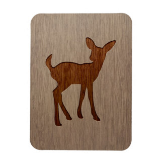 Fawn silhouette engraved on wood design rectangular photo magnet