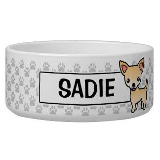 Fawn Smooth Coat Chihuahua Cartoon Dog Bowl