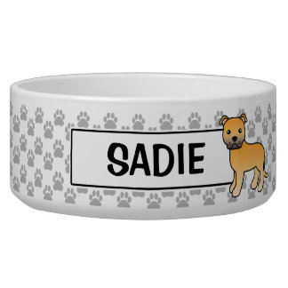 Fawn Staffordshire Bull Terrier And Name Bowl