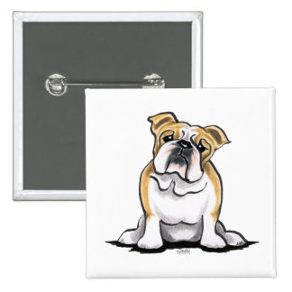 Fawn White Bulldog Sit Pretty Button