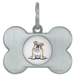 Fawn White Bulldog Sit Pretty Pet Name Tags
