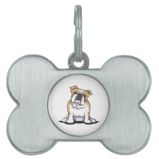 Fawn White Bulldog Sit Pretty Pet Name Tag