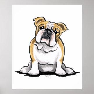 Fawn White Bulldog Sit Pretty Posters
