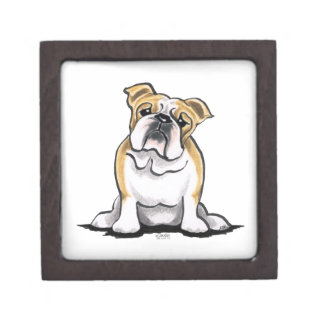 Fawn White Bulldog Sit Pretty Premium Jewelry Box