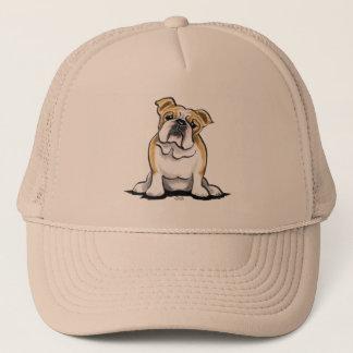 Fawn White Bulldog Sit Pretty Trucker Hat
