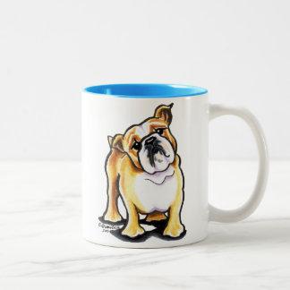 Fawn White English Bulldog Portrait Mugs