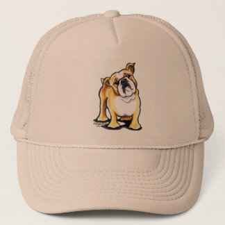 Fawn White English Bulldog Portrait Trucker Hat