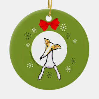 Fawn White Italian Greyhound Christmas Classic Ceramic Ornament