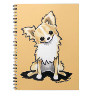 Fawn & White Longhair Chihuahua Sit Pretty Notebook