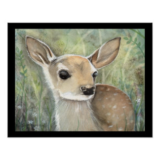 Fawn Wildlife Painting Poster