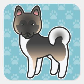 Fawn With Black Overlay Akita Cartoon Dog Square Sticker