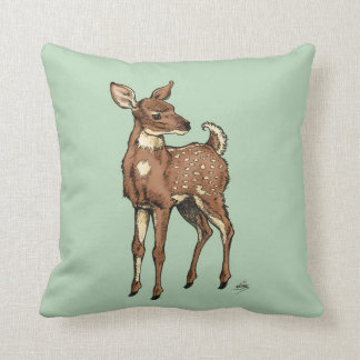 Fawn with Mint background Throw Pillow