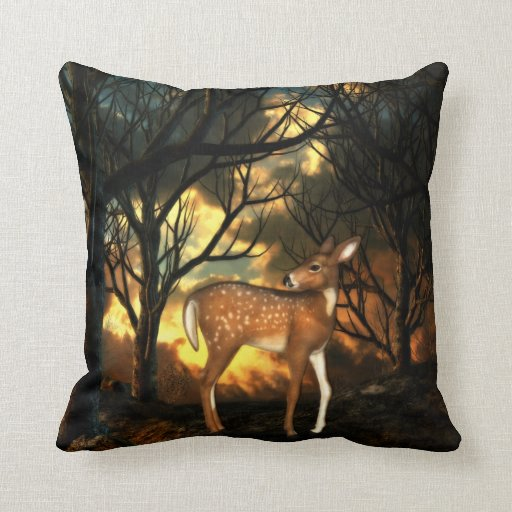 Fawn, Young Deer of the Forest Throw Pillows