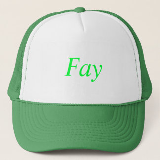Fay custom named green and white hat