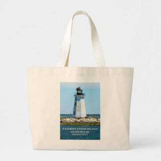 Fayerweather Island Lighthouse, Connecticut Large Tote Bag