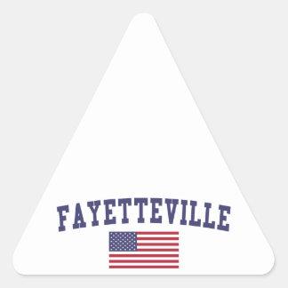 Fayetteville AR US Flag Triangle Sticker