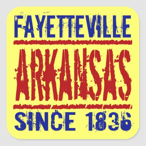 Fayetteville, Arkansas desde 1836 Calcomanía Cuadrada