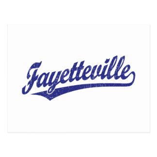 Fayetteville script logo in blue postcard